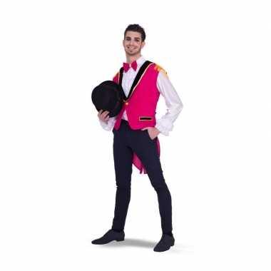 Lange roze gilet heren carnavalskleding valkenswaard