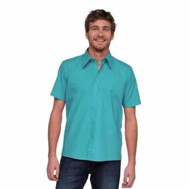 Lemon&Soda overhemd korte mouw turquoise carnavalskleding Valkens