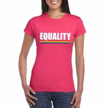 Lgbt shirt roze equality dames carnavalskleding valkenswaard