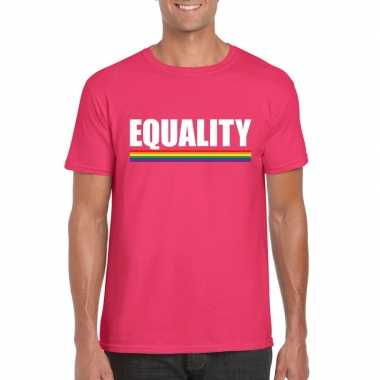 Lgbt shirt roze equality heren carnavalskleding valkenswaard