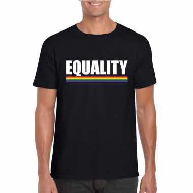 Lgbt shirt zwart equality heren carnavalskleding valkenswaard
