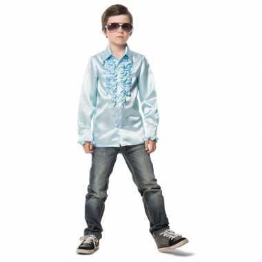 Lichtblauwe disco blouse jongens carnavalskleding valkenswaard