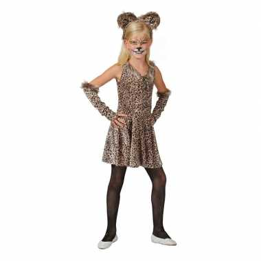 Luipaard verkleed jurkje accessoires meisjes carnavalskleding valkens