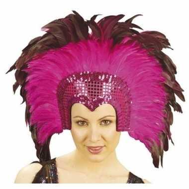 Luxe hoofdtooi fuchsia roze veren volwassenen carnavalskleding valken