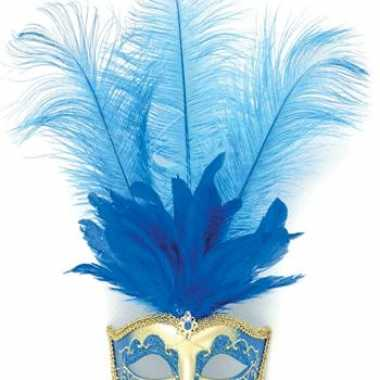 Masker blauw veren