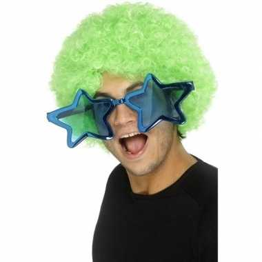 Mega blauwe sterren verkleed bril volwassenen carnavalskleding valken