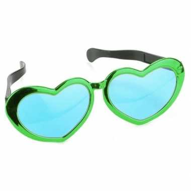 Mega groene hartjes verkleed bril volwassenen carnavalskleding valken