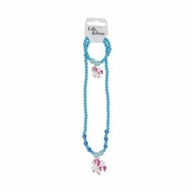 Meisjes sieraden setje turquoise blauw een eenhoorn