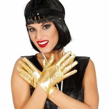 Metallic gouden verkleed handschoenen kort carnavalskleding valkenswa