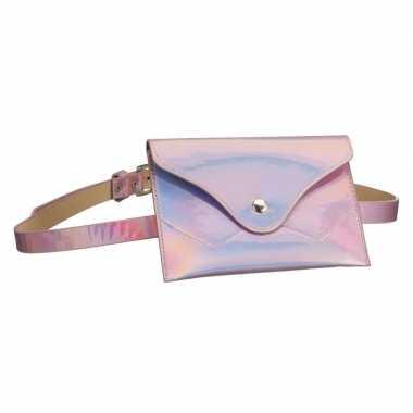 Metallic roze mini heuptasje/buideltasje aan riem dames carnavalskled