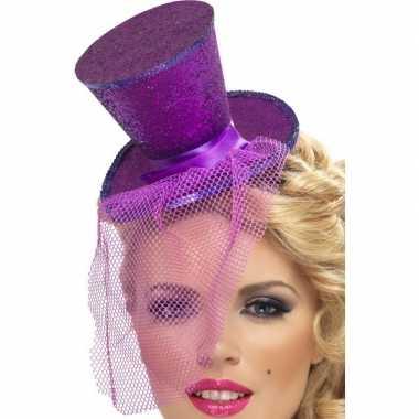 Mini paarse hoge hoed diadeem carnavalskleding valkenswaard