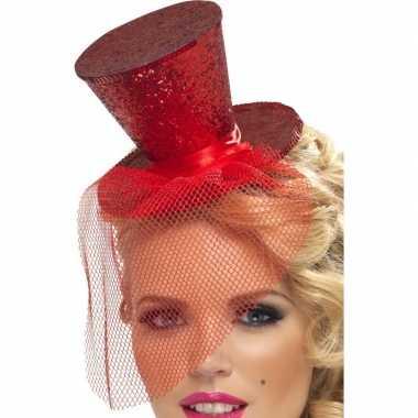 Mini rode hoge hoed diadeem carnavalskleding valkenswaard