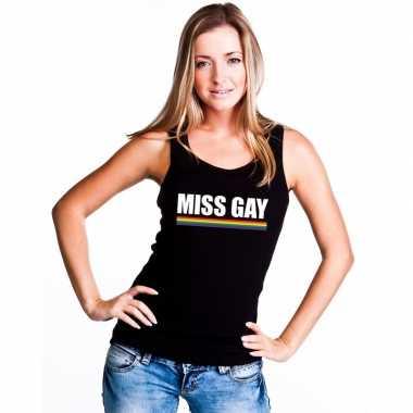 Miss gay singlet shirt zwart regenboog vlag dames carnavalskleding va