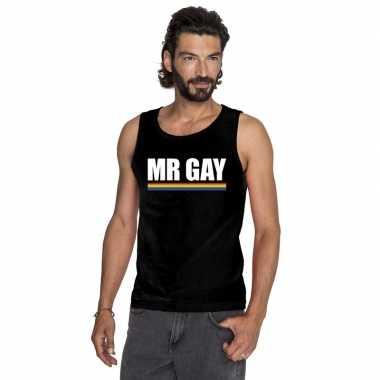 Mister gay singlet shirt zwart regenboog vlag heren carnavalskleding