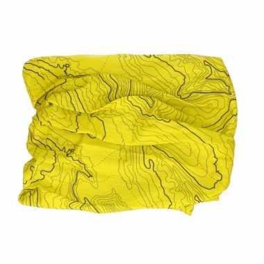 Multifunctionele morf sjaal geel contour print volwassen carnavalskleding valkenswaard
