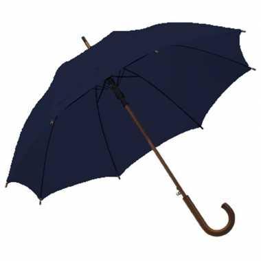 Navy blauwe paraplu houten handvat carnavalskleding valkenswaard