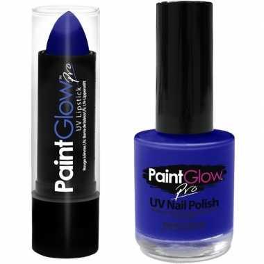 Neon blauwe uv lippenstift/lipstick nagellak schmink set carnavalskle