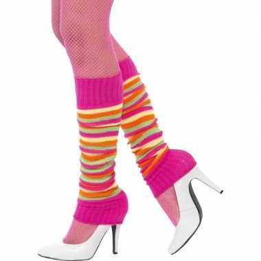 Neon gekleurde beenwarmers dames carnavalskleding valkenswaard