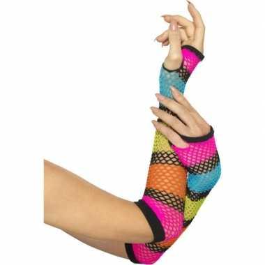 Neon gekleurde visnet handschoenen carnavalskleding valkenswaard