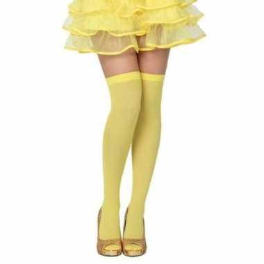 Neon gele verkleed kousen dames carnavalskleding valkenswaard