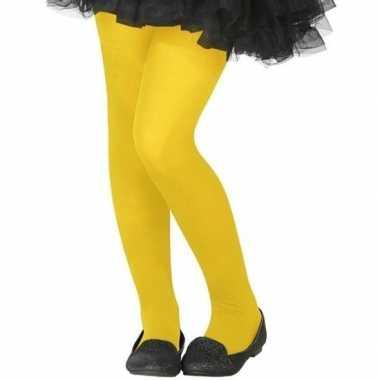 Neon gele verkleed panty kinderen carnavalskleding valkenswaard