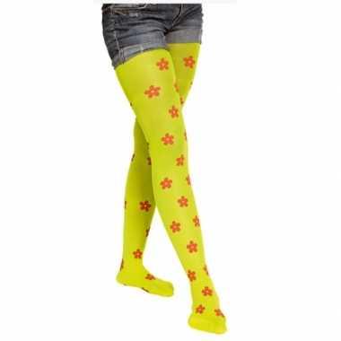 Neon groene panty bloemen carnavalskleding Valkenswaard