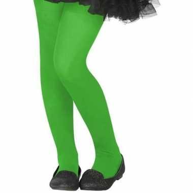Neon groene verkleed panty kinderen carnavalskleding valkenswaard