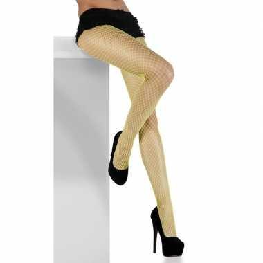 Neon groene visnet panty dames carnavalskleding valkenswaard