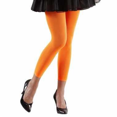 Neon oranje legging dames carnavalskleding valkenswaard