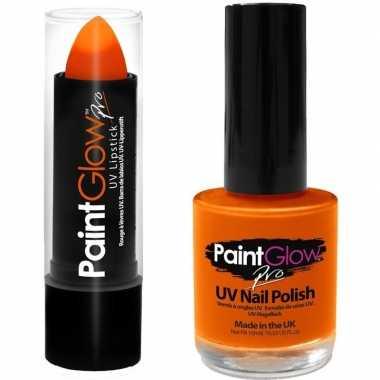 Neon oranje uv lippenstift/lipstick nagellak schmink set carnavalskle