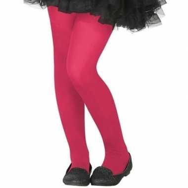 Neon roze verkleed panty kinderen carnavalskleding valkenswaard