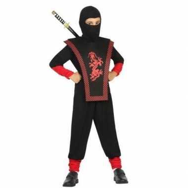 Ninja verkleed carnavalskleding zwart/rood jongens valkenswaard