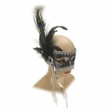 Oogmasker kralen veren zilver carnavalskleding valkenswaard
