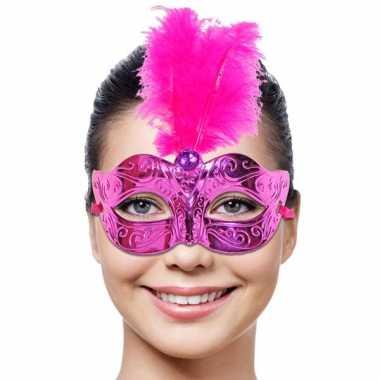 Oogmasker roze roze veer carnavalskleding Valkenswaard