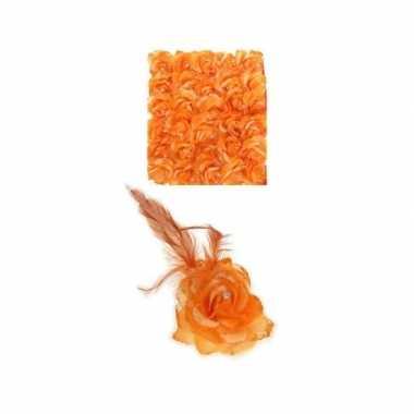 Oranje deco bloem speld/elastiek carnavalskleding valkenswaard