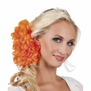 Oranje flamenco haarbloem carnavalskleding valkenswaard