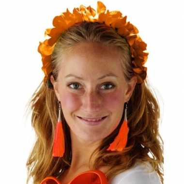 Oranje hawaiikrans verkleed tiara/hoofdband dames carnavalskleding va