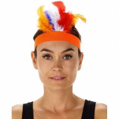 Oranje indianentooi verkleed hoofdband dames carnavalskleding valkens