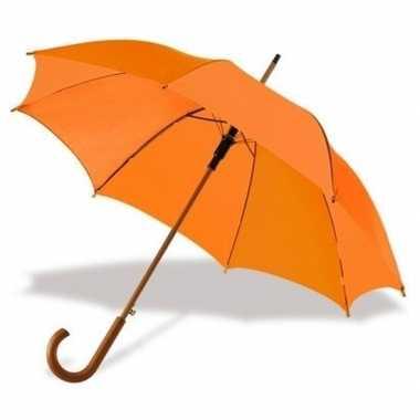 Oranje paraplu houten handvat carnavalskleding valkenswaard