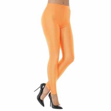 Oranje spandex verkleed legging dames carnavalskleding valkenswaard