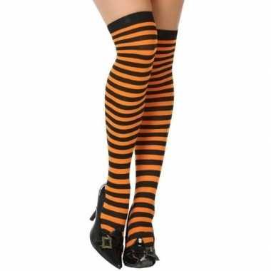 Oranje/zwarte gestreepte verkleed kousen dames carnavalskleding valke