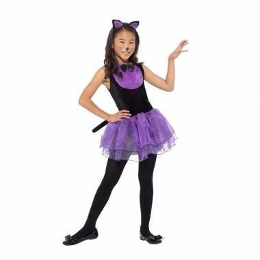 Paars/zwarte kat/poes carnavalskleding meiden valkenswaard