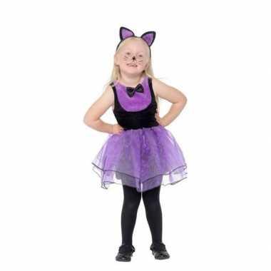 Paars/zwarte kat/poes carnavalskleding peuters valkenswaard