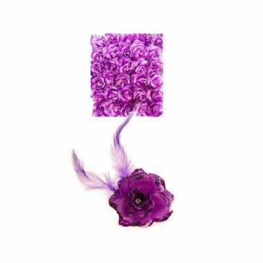 Paarse deco bloem speld/elastiek carnavalskleding valkenswaard