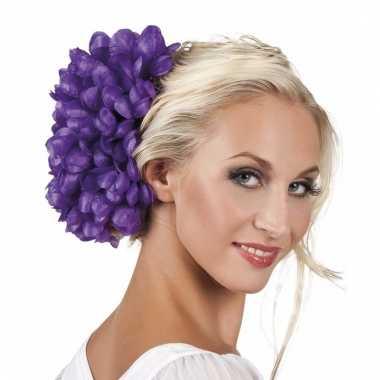 Paarse flamenco haarbloem carnavalskleding valkenswaard
