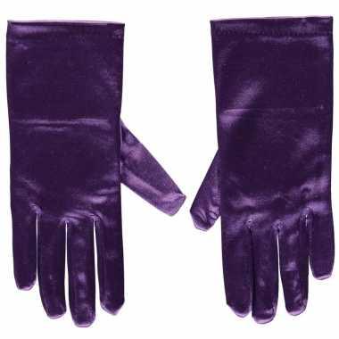 Paarse gala handschoenen kort satijn carnavalskleding valkenswaard