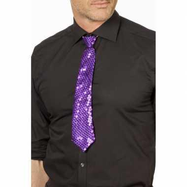Paarse glitter stropdas verkleedaccessoire dames/heren carnavalskledi
