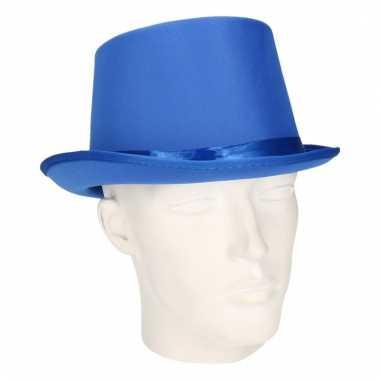 Party hoge hoedje blauw vilt