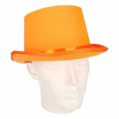 Party hoge hoedje oranje vilt carnavalskleding valkenswaard