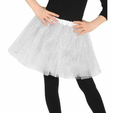 Petticoat/tutu verkleed rokje wit glitters meisjes carnavalskleding v